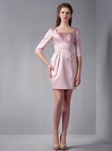Pink Column Square Half Sleeves Mini-length Cocktail Dress for Prom