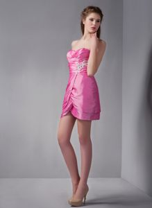 Column Sweetheart Mini-length Appliques Rose Pink Cocktail Dress