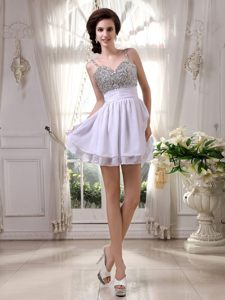 Lilac Beaded Prom Cocktail Dress with Spaghetti Straps Mini-length