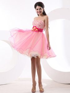Beading Strapless Short Dresses For Wedding Cocktail Party in Pink