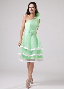 Apple Green Ruffled Floral One Shoulder Cocktail Reception Dresses