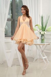 Empire Halter Yellow Homecoming Cocktail Dress with Appliques