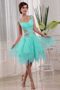 Turquoise Knee-length Straps Beading Cocktail Dress with Cutout Waist