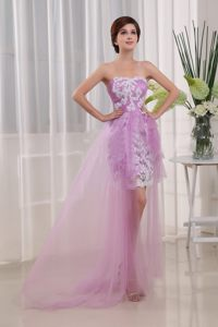 Appliques Column Strapless Lavender Brush Train Cocktail Dress