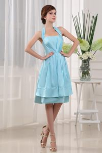 Halter A-Line Knee-length Baby Blue Cocktail Dress For Celebrity
