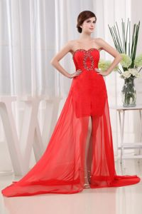 Sweetheart Red Cocktail Dress Sweetheart Brush Train with Beading