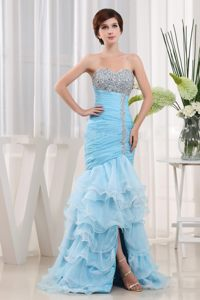 Baby Blue Beaded Sweetheart Ruffled Layers Cocktail Dress For Prom
