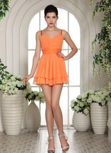 Orange Mini-length Straps Club Cocktail Dress in Carletonville