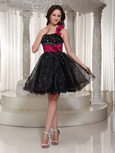 Prom Cocktail Dress with Hand Made Flowers in Black with Beading
