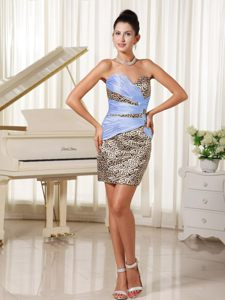 Sweetheart Mini-length Prom Cocktail Dress with Leopard Print
