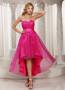 High-low Sweetheart Paillette Evening Cocktail Dress in Hot Pink