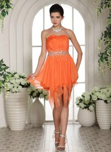 Beaded Belt Asymmetrical Ruffled Cocktail Dress in Orange Red