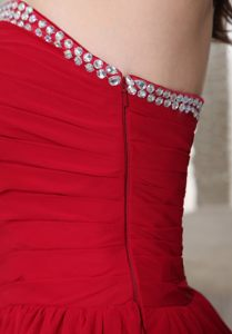 A-line Ruched Red Prom Cocktail Dress with Beading at Uitenhage