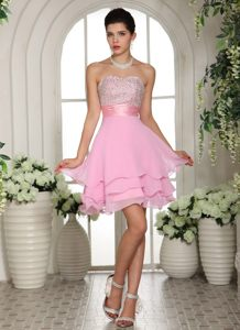 Sweetheart A-line Beaded Baby Pink Cocktail Homecoming Dress