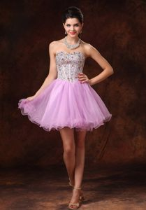 Beaded Lavender Short A-line Backless Prom Cocktail Dress