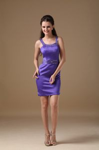 Cocktail Dress Column Straps Beading Mini-length in Purple at Tokai