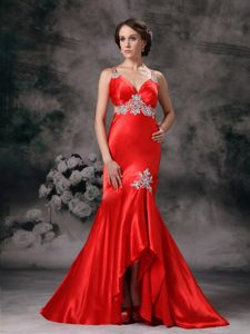 Appliques Straps Red Evening Cocktail Dress Strapless High-low