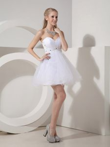 Cocktail Dress A-line Sweetheart Appliques Mini-length in White