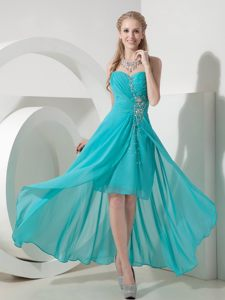 Turquoise High-low Sweetheart Beading Cocktail Dress For Prom