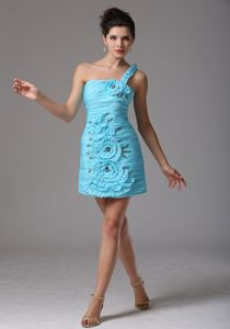 One Shoulder Aqua Blue Hand Made Flowers Ruched Prom Cocktail Dress