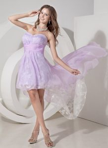 Embroidery Lavender High-low Cocktail Dress for Prom Sweetheart