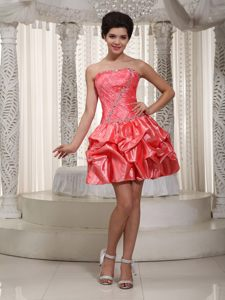 Coral Red Strapless Mini-length Beaded Cocktail Dress For Prom