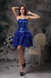 Royal Blue Evening Cocktail Dress Sweetheart with Beading and Sequin