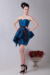 Column Sweetheart Ruffled Teal Cocktail Party Dress with Sashes