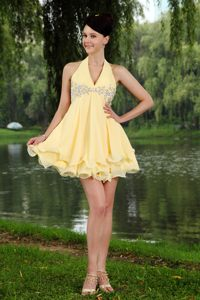 Halter Light Yellow Mini-length Cocktail Dress with Beading in Alberton
