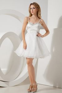 Princess Beading Sweetheart Cocktail Dress for Prom Straps in White
