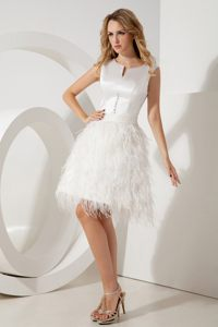 Scoop Feather Beading Belt Ivory Cocktail Party Dresses in Bellville