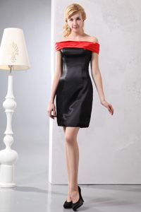 Off The Shoulder Mini-length Red and Black Cocktail Dress For Prom