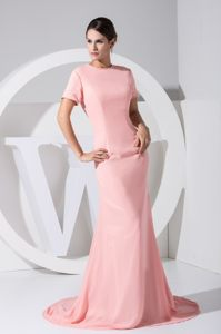 Short Sleeves Pink Wedding Cocktail Party Dress with Cool Back