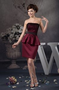 Beaded Strapless Mini-length Prom Cocktails Dresses in Wine Red
