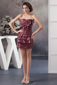 Burgundy Mini-length Ruffled Layered Prom Cocktail Dress at Welland