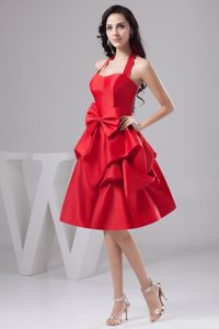 Halter Knee-length Red Pick-ups and Bowknot Prom Cocktail Dress