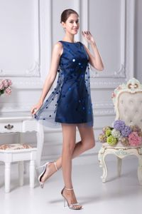 Navy Blue Mini-length Scoop Cocktail Dress For Celebrity with Sequins