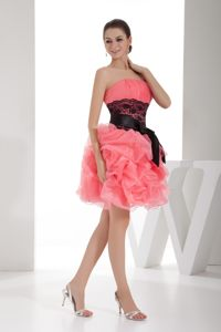 Strapless Watermelon Pink Cocktails Dress Knee-length with Sash