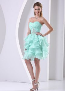 Mint Green Ruffled Sweetheart Beading Prom Cocktail Dress in Burnie