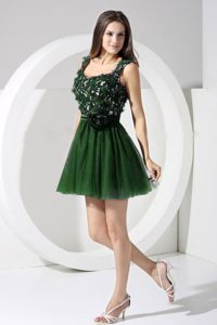 A-line Straps Dark Green Mini-length Backless Cocktail Dresses
