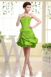 Strapless Yellow Green Cocktail Party Dresses with Pick-ups