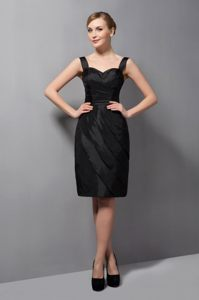 Column Straps Black Mini-length Homecoming Cocktail Dresses