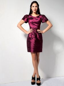 Burgundy Column V-neck Cocktail Reception Dresses with Short Sleeves