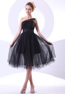 One Shoulder Black A-line Knee-length Cocktail Reception Dresses