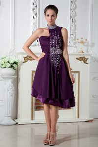 Special Design for Top for Dark Purple Beading Asymmetrical Cocktail Dress
