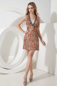 Leopard Print for V-neck Beading Short Cocktails Dresses with Cool Back