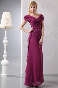 Cap Sleeves with V-neck for Burgundy Beading Cocktail Dresses to Ankle