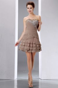 Brown Beading and Sequins Prom Cocktail Dress to Mini-length with Layers