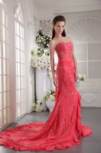 Coral Red Sweetheart Appliques Prom Cocktail Dress in Column with Court T