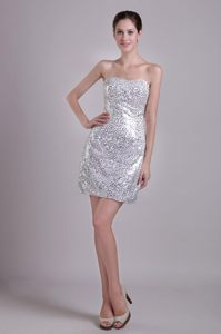 Silver Strapless Short Sequins Decorated over Prom Cocktail Dresses